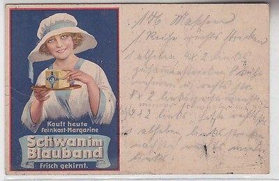56769 Reklame Ak Kauft heute Feinkost-Margarine Schwan im Blauband um 1910