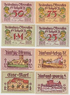 4 Banknoten Notgeld Stadt Neidenburg Ostpreussen 1921 kassenfrisch (120469)