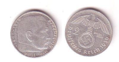 2 Mark Silber Münze 3.Reich Hindenburg 1936 G Jäger 366 (112286)