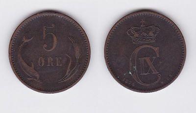 5 Öre Kupfer Münze Dänemark Delphin 1874 (117117)