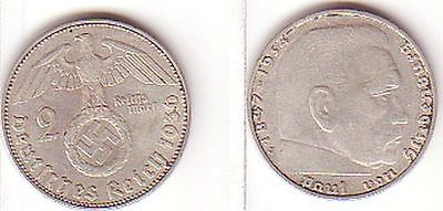 2 Mark Silber Münze 3. Reich Hindenburg 1936 J Jäger 366 (MU1389)
