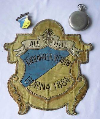 Nachlaß Radfahrerverein Borna 1884 Stoppuhr, Abzeichen, Vereinswappen (111467)
