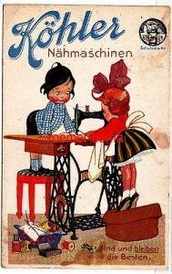 81176 Künstler Ak Werbung Köhler Nähmaschinen sind und bleiben die Besten 1924