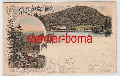 74557 Ak Lithografie Gruss vom Wiesenbeeker Teich b. Lauterberg i. Harz 1902