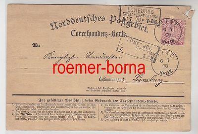 82438 Correspondenz Karte Norddeutsches Postgebiet 6/7.1870