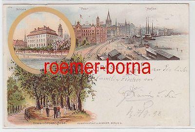78840 Ak Lithographie Gruss aus Kiel Schloss, Post, Hafen 1897