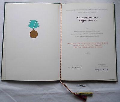 DDR Urkunde Medaille f.ausgezeichnete Leistungen Ministerium des Innern(114334)