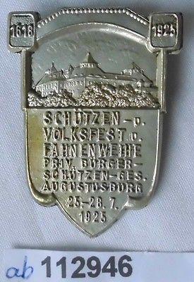 Altes Blech Abzeichen Schützen- und Volksfest Augustusburg 1925 (112946)