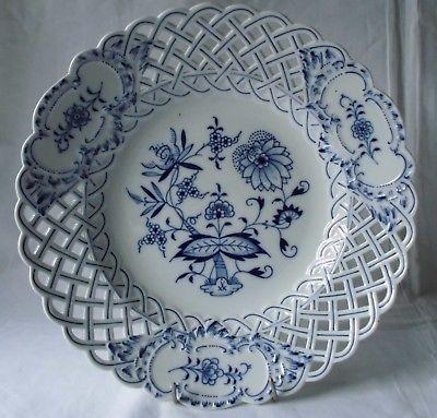 Meissen Porzellan Zwiebelmuster schöner, großer Durchbruchteller 28 cm (118521)