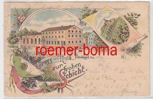 15328 Ak Lithographie Gruß vom Rest zur frohen Schicht Potschappel 1896