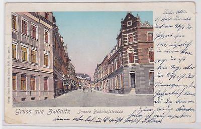 86453 Patent Ak Gruß aus Zwönitz innere Bahnhofstrasse 1903