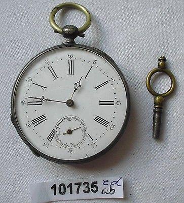Seltene silberne Herren Taschenuhr mit Schlüsselaufzug um 1900 (101735)