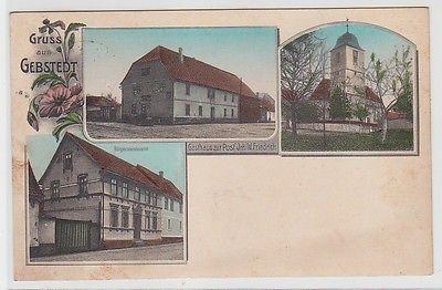 71553 Ak Gruss aus Gebstedt, Mehransicht u.a. Gasthaus zur Post, 1914