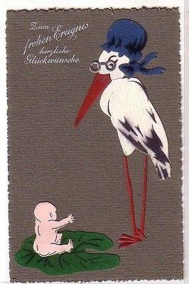68346 Präge Glückwunsch Ak Storch mit Baby um 1910