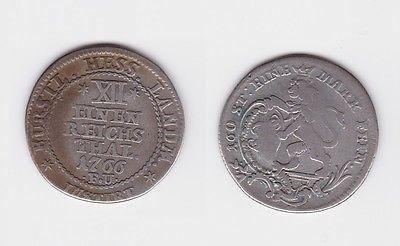 1/12 Taler Silber Münze Hessen Kassel 1766 F.U. (119001) 0