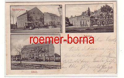 80762 Mehrbild Ak Gruss aus Priestewitz Bahnhof, Geschäftshaus, Schule 1904