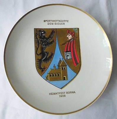 Rarer Porzellan Teller Heimatfest Borna 1938 Sportwettkämpfe dem Sieger (112409) 0