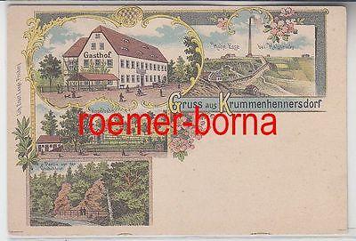 68803 Ak Lithographie Gruß aus Krummenhennersdorf Gasthof usw. um 1900