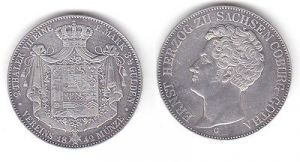 1 Doppeltaler Silber Münze Sachsen Coburg Gotha Herzog Ernst 1842 (111996)