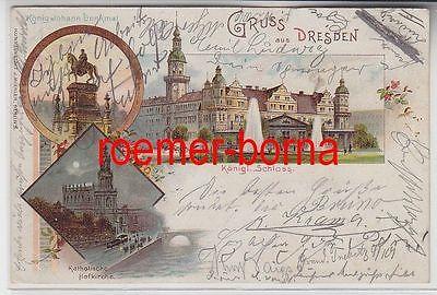 77770 Ak Lithografie Gruss aus Dresden Königl. Schloss, Kath. Hofkirche 1898