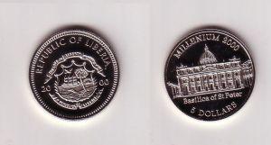 5 Dollar Nickel Münze Liberia 2000 Petersdom Basilica of St.Peter (103593)