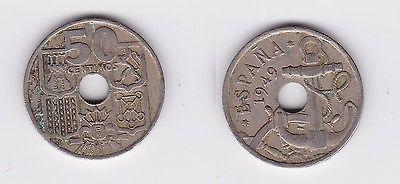 50 Centimos Kupfer Nickel Münze Spanien 1949 117967 Nr