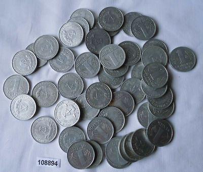 Konvolut mit 50 DDR Münzen 1 Mark Aluminium (108894)