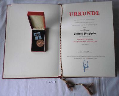 DDR Orden & Urkunde Deutsche Reichsbahn Verdienstmedaille 1975 (119077)