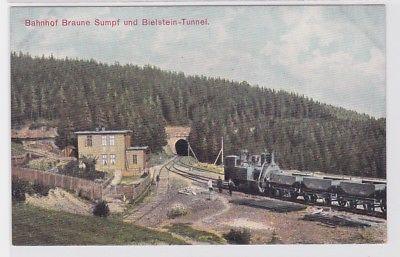78240 Ak Bahnhof Braune Sumpf und Bielstein Tunnel um 1900