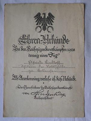 Seltene Ehrenurkunde Reichsjugendwettkämpfe erster Sieg 1928 (115552)