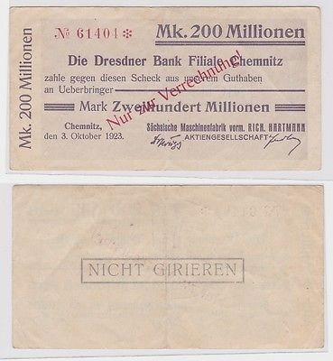 200 Millionen Mark Banknote Chemnitz Dresdner Bank 3.10.1923 (121434)