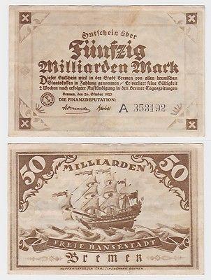 50 Milliarden Mark Banknote Freie Hansestadt Bremen 26.10.1923 (121652)