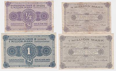 1/2 & 1 Million Mark Banknoten Hannover Handwerkskammer 1923 (120276)