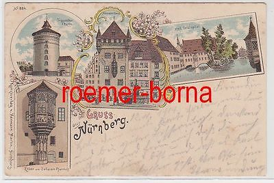 75197 Ak Lithografie Gruss aus Nürnberg Nassauer Haus usw. 1914