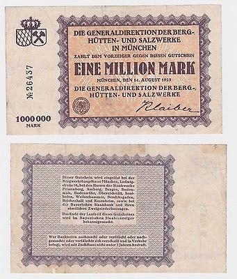 1 Million Mark Banknote Berg-, Hütten- & Salzwerke München 1923 (121209)