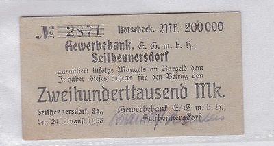 200000 Mark Banknote Gewerbebank Seifhennersdorf 25.08.1923 (118932)
