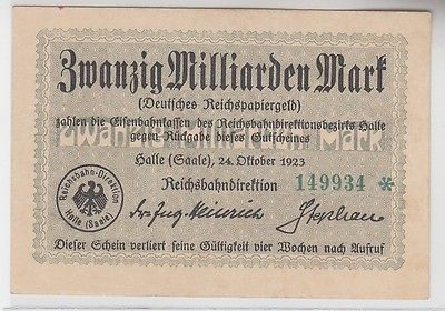 20 Milliarden Mark Inflation Banknote Reichsbahndirektion Halle 1923 (110079)