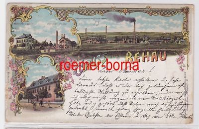 83910 Ak Lithographie Gruß aus Rehau Exportbier Brauerei usw. 1898