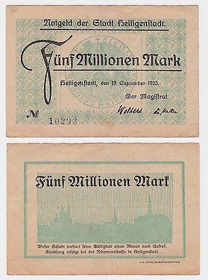 5 Millionen Mark Banknote Stadt Heiligenstadt 19.9.1923 (121312)