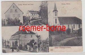 69598 Mehrbild Ak Ober-Thomaswaldau Schule Post Pfarrhaus Kirche 1913