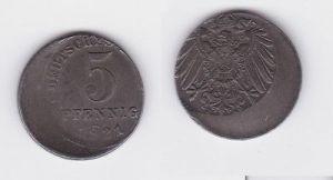 5 Pfennig Eisen Münze Deutsches Reich 1921 E, FEHLPRÄGUNG Jäger 297 (122891)