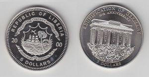 5 Dollar Nickel Münze Liberia 2000 Mauerfall, Berlin Brandenburger Tor (116472)