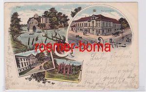 80561 Ak Lithografie Gruss aus Wörlitz Hotel grüner Baum usw. 1897
