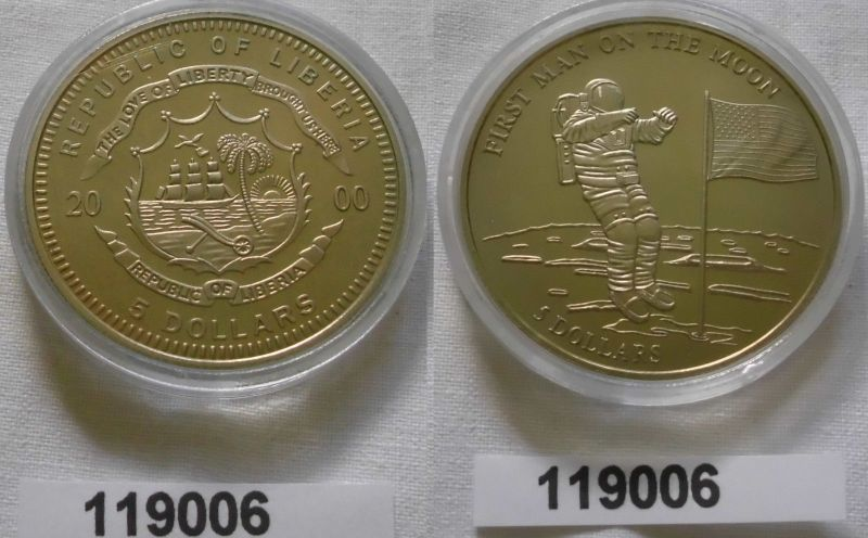 5 Dollar Nickel Münze Liberia 2000 1 Mann Auf Dem Mond 119006 Nr