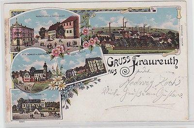 67800 Ak Lithografie Gruss aus Fraureuth Schützenhaus Marktplatz usw. 1904