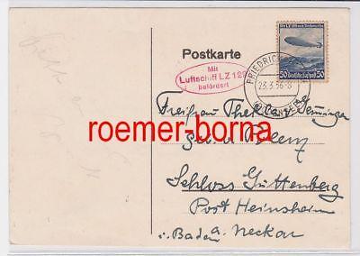 64558 Postkarte Zeppelinpost Flugpostmarke Mit LZ 129 nach Nordamerika 1936
