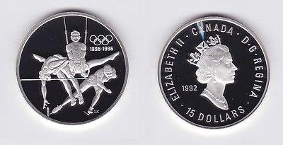 15 Dollar Silbermünze Kanada 100 Jahre Olympische Spiele 1992 (118562)