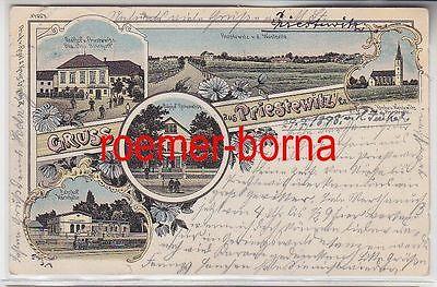 74327 Ak Lithografie Gruss aus Priestewitz i.Sa. Gasthof, Bahnhof 1898