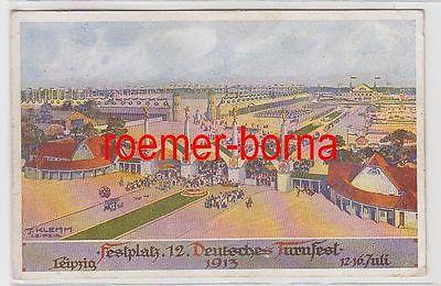66223 Künstler Ak Festplatz 12. Deutsches Turnfest Leipzig 12.-16. Juli 1913