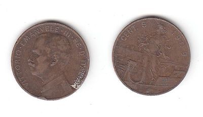 5 Centesimi Kupfer Münze Italien 1909 Gondel 116275 Nr